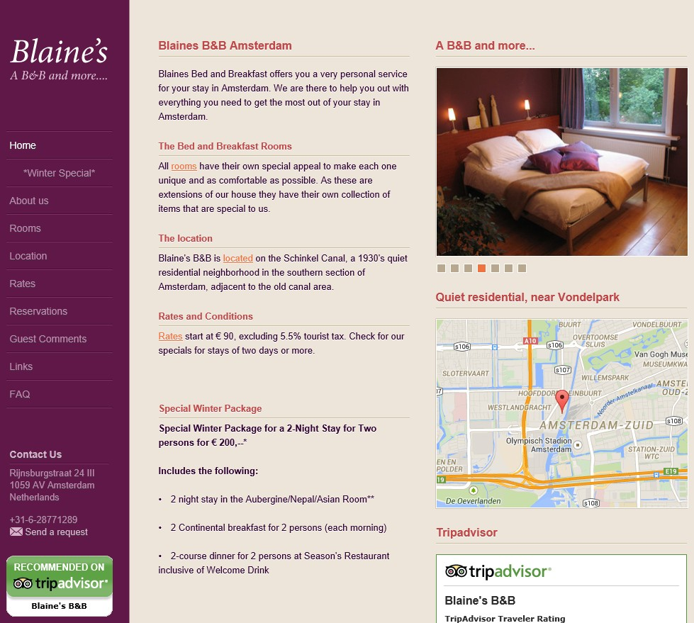 bed and breakfast blaines amsterdam